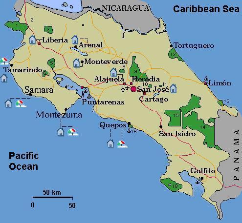 costa rica nationalparks karte Homepage von Matthias Damm   Reisen   Costa Rica